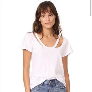 LNA Baxter white cutout tee shirt